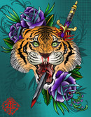 Impalement by 2 Cents Tiger and Purple Roses Canvas Giclee Tattoo Art Print