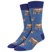 Men's Crew Socks Moose on the Loose Deer Family Animal Blue