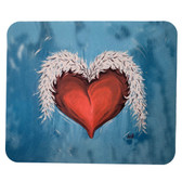 Computer Mouse Pad Desk Accessory Heart and Wings