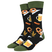 Men's Crew Socks Octoberfest Beer and Pretzels Black