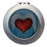 Heart and Wings Compact Mirror Purse Travel Accessory