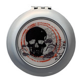 Skull and Floral Design Compact Mirror Purse Travel Accessory