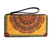 Floral Bohemian Design Yellow Wristlet Wallet