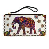 White Wristlet Wallet with Floral Bohemian Elephant Design