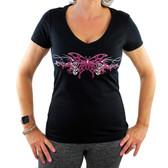 Women's Butterfly Design Black V Neck Tee Shirt Short Sleeve