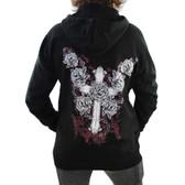 Black Pull Oveer Fleece Hoodie Sweatshirt Cross and Roses