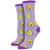 Women's Crew Socks Holy Guacomole Avocado Lavender Purple