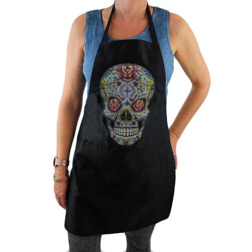 Full Length Black Apron with Colorful Day of the Dead Skull Design