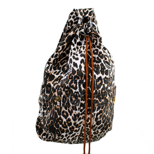 Jean Backpack Sack with Drawstring Leopard