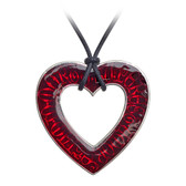Alchemy Gothic Love Over Death Heart Pendant Necklace Pewter Jewelry P803