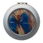 Blue Butterfly Compact Mirror Purse Travel Accessory
