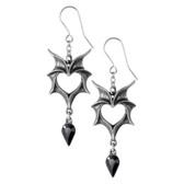 Alchemy Gothic Heart Shaped Love Bats Dangle Earrings Pewter Jewelry E425