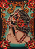 Muerta by Lil Chris Canvas Giclee Art Print Day of the Dead Sugar Skull