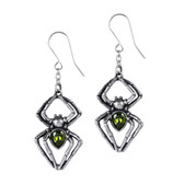 Alchemy Gothic Emerald Venom Spider Dangle Earrings Pewter Jewelry E428
