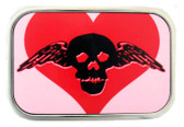 Heart and skull belt buckle.