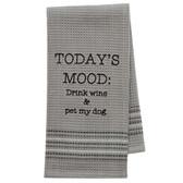 Funny Novelty Cotton Kitchen Dishtowel Today's Mood Wine and Dog