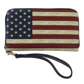 USA Flag Faux Leather Zip Around Wallet Wristlet Clutch