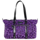 Sourpuss Purse Leda Purple Leopard Stud Crossbody Shoulder Travel Bag