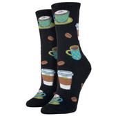 Women's Crew Socks Love You Latte Coffee Lover Black
