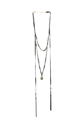 Long Black Layered Beaded Gemstone and Suede Necklace w/ Small Pendant