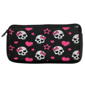 Girly Skull with Pink Bow Neoprene Cosmetic Case Pencil Bag Stash Pouch