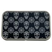 Black and White Sugar Skull Rectangle Metal Storage Tin Stash Box