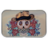 Cowboy Sugar Skull Rectangle Metal Storage Tin Stash Box