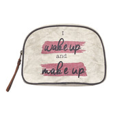 Mona B Upcycled Make Up Cosmetic Bag Storage Pouch Wake Up