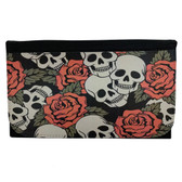 Skull and Roses Women's Wallet Black Poly Canvas