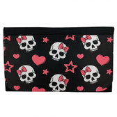 Girly Skull with Pink Bow Women's Wallet Black Poly Canvas