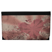 Mauve Heart and Swallow Women's Wallet Black Poly Canvas