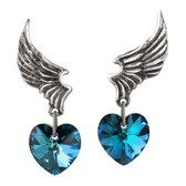 Alchemy Gothic El Corazon Pewter Jewelry Wings Blue Heart ULFE15