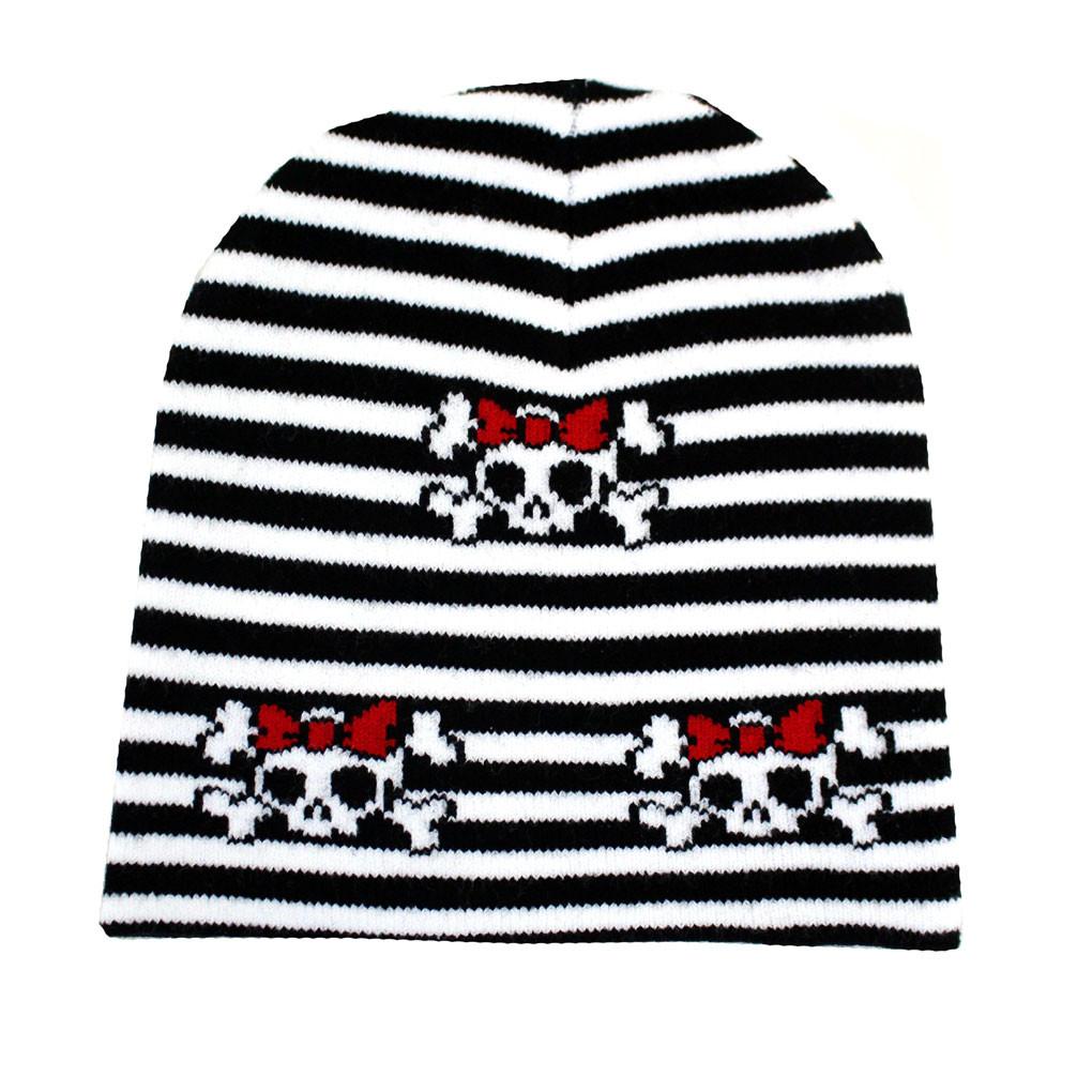 Black White Striped Beanie Skull   Crossbones Knit Hat - Purple ... 737b4c7d18f
