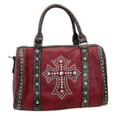 Red cowgirl style cross faux leather purse.