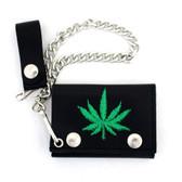 Marijuana embroidered leaf wallet.