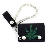Men's Biker Black Leather Chain Wallet Marijuana Pot Leaf