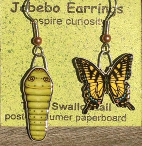 Tiger Swallowtail Butterfly and Caterpillar Earrings 427
