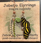 Zebra Longwing Butterfly and Caterpillar Earrings