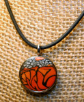 Monarch Butterfly Round Pendant