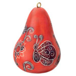 Whimsy Butterfly Gourd Ornament - Red