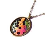 Sunset Moth Wing Oval Pendant (Rainbow) -Gold