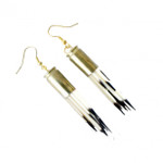 White Porcupine Quill Earring Gold Tone