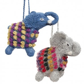 Elephant Alpaca Knitted Ornament