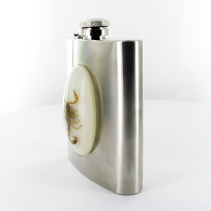 Gold Scorpion Flask & Funnel Set Side View