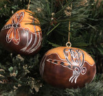 Whimsy Dragonfly Handcarved Gourd Christmas Ornament- Dark
