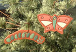 Terracotta Caterpillar and Butterfly Ornament Garden Tag Set