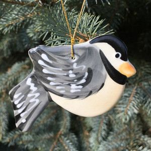 Handmade Ceramic Chickadee Christmas Tree Ornament