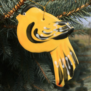 Handmade Ceramic Goldfinch Christmas Tree Ornament