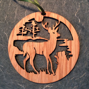 Hand-Crafted Deer in the Woods Christmas Ornament