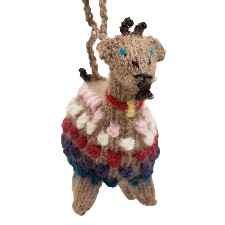 Goat Christmas Ornament.Goat Hand Knitted Christmas Ornament